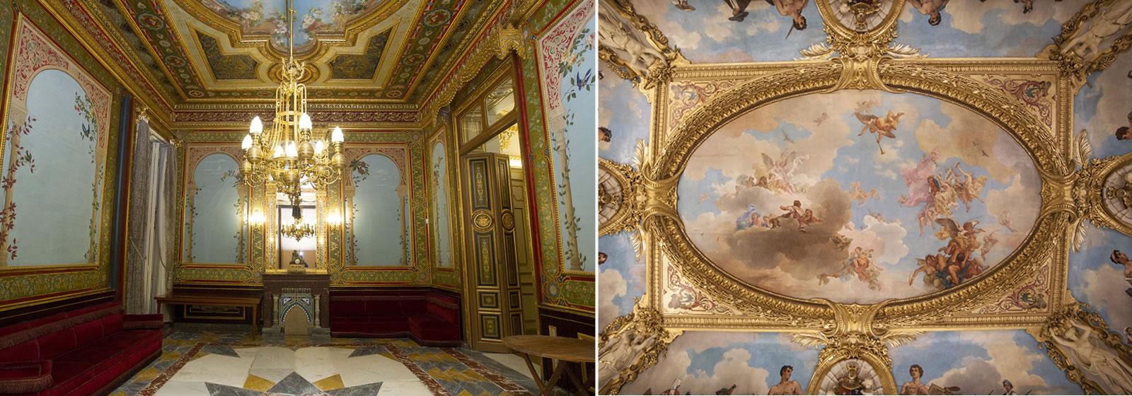 Vistas del interior del Palacio de Santoña, en concreto del salón y de su formifable techo con murales pintados.