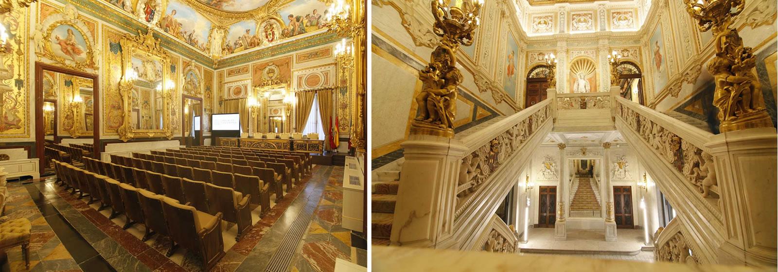 Vistas del interior del Palacio de Santoña, escalera princial y sala de actos.